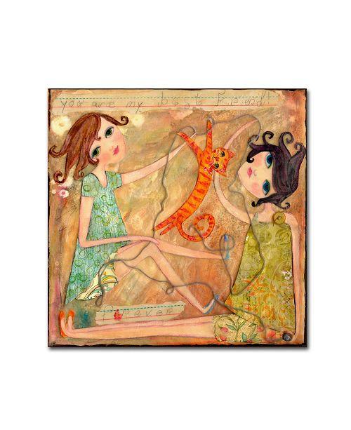 "Trademark Global Wyanne 'Big Eyed Girl Best Friends' Canvas Art - 18"" x 18"""