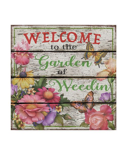 """Trademark Global Jean Plout 'Country Garden Sign' Canvas Art - 18"""" x 18"""""""