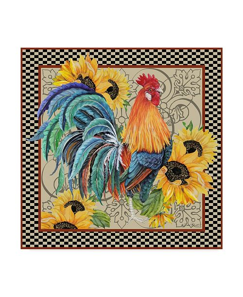 """Trademark Global Jean Plout 'Country Time Rooster' Canvas Art - 18"""" x 18"""""""