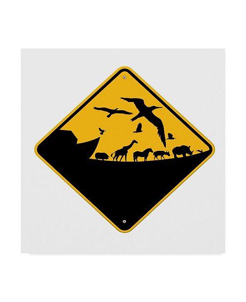 "Trademark Global J Hovenstine Studios 'Ark Crossing Sign' Canvas Art - 24"" x 24"""