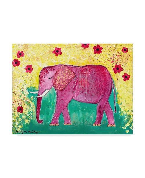 """Trademark Global Jennifer Mccully 'Pink Elephant' Canvas Art - 19"""" x 14"""""""
