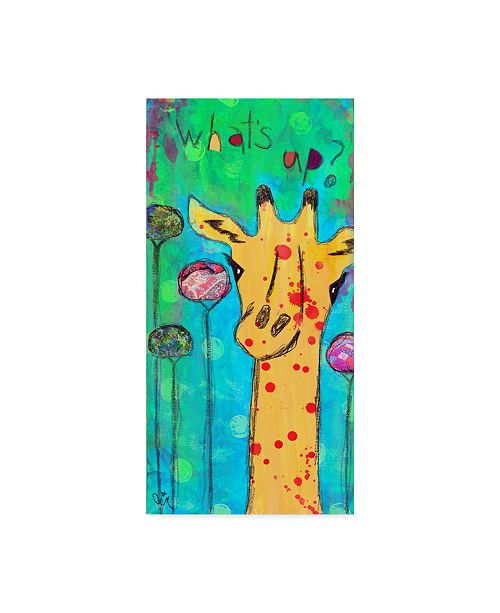 "Trademark Global Jennifer Mccully 'What's Up Giraffe' Canvas Art - 12"" x 24"""