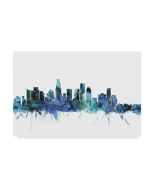 "Trademark Global Michael Tompsett 'Los Angeles California Blue Teal Skyline' Canvas Art - 19"" x 12"""