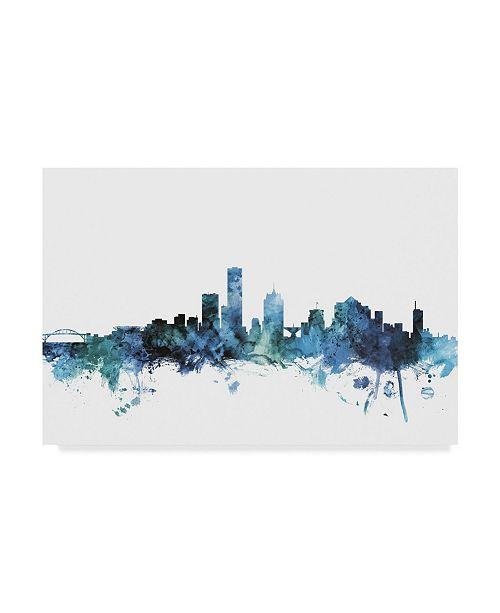 "Trademark Global Michael Tompsett 'Milwaukee Wisconsin Blue Teal Skyline' Canvas Art - 19"" x 12"""