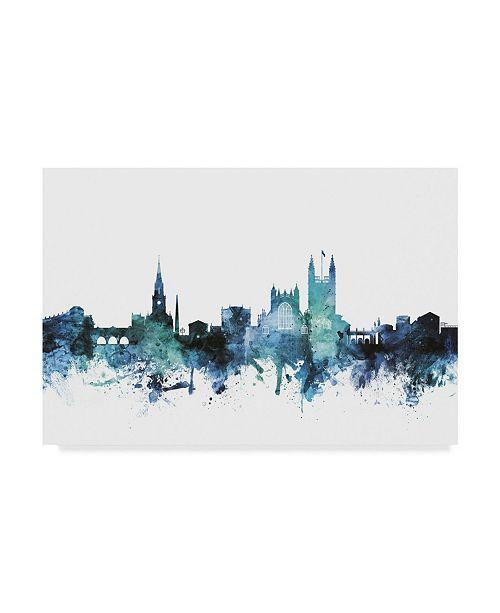 "Trademark Global Michael Tompsett 'Bath England Blue Teal Skyline Cityscape' Canvas Art - 19"" x 12"""