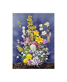 """Harro Maass 'Spring Flowers Clouds' Canvas Art - 14"""" x 19"""""""