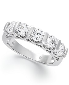 Certified Five-Stone Diamond Band Ring in 14k White Gold (1-1/2 ct. t.w.)