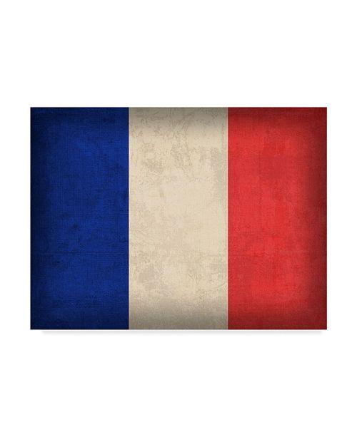 "Trademark Global Red Atlas Designs 'France Distressed Flag' Canvas Art - 19"" x 14"""