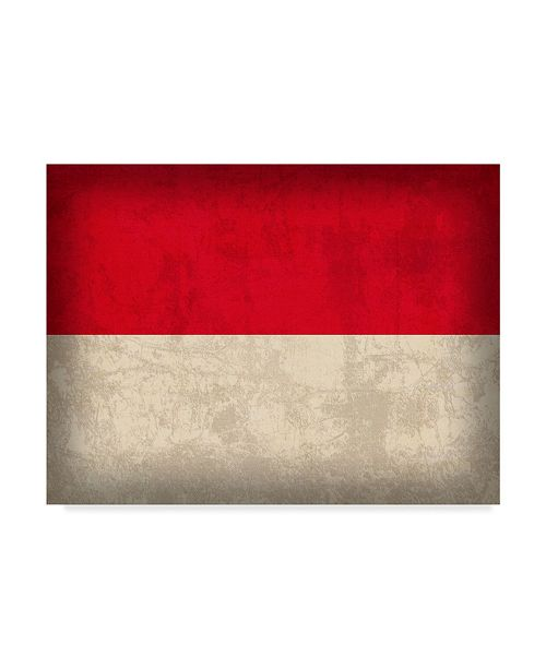 "Trademark Global Red Atlas Designs 'Indonesia Distressed Flag' Canvas Art - 19"" x 14"""