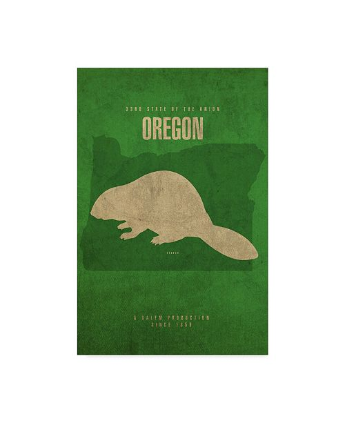 "Trademark Global Red Atlas Designs 'State Animal Oregon' Canvas Art - 22"" x 32"""