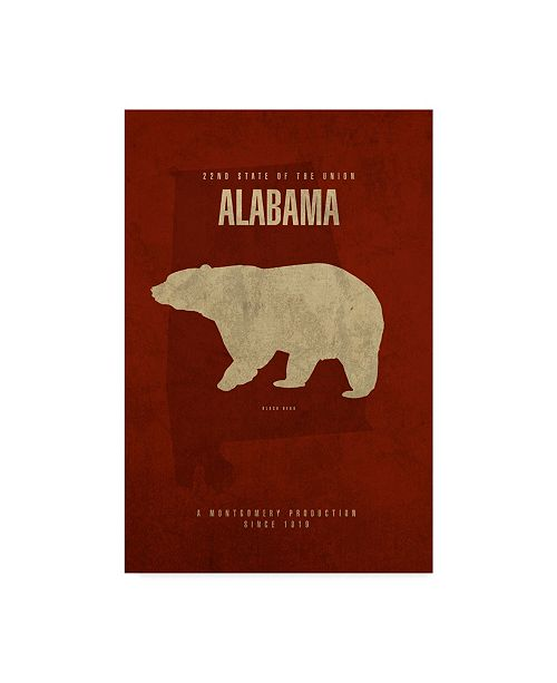 "Trademark Global Red Atlas Designs 'State Animal Alabama' Canvas Art - 12"" x 19"""