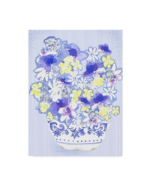 "Trademark Global Lisa Powell Braun 'Blue Floral' Canvas Art - 18"" x 24"""