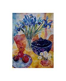 "Lorraine Platt 'Irises And Dish Of Apples' Canvas Art - 14"" x 19"""