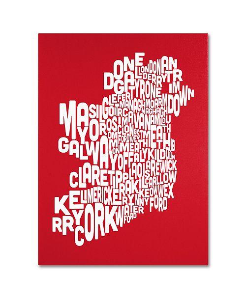 """Trademark Global Michael Tompsett 'RED-Ireland Text Map' Canvas Art - 18"""" x 24"""""""