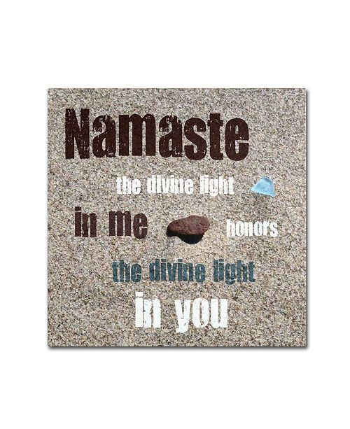 """Trademark Global Michelle Calkins 'Namaste with Pebble and Beach Glass' Canvas Art - 18"""" x 18"""""""