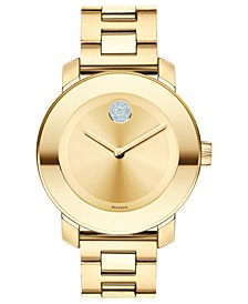 Women's Swiss Bold Medium Gold Ion-Plated Stainless Steel Bracelet Watch 36mm 3600104