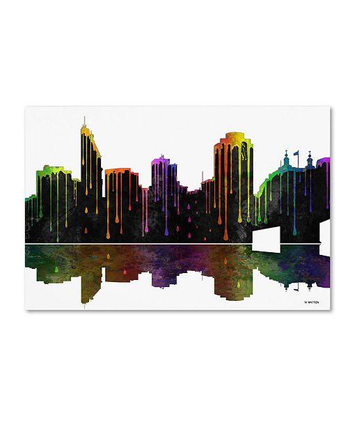 "Trademark Global Marlene Watson 'Cincinatti Ohio Skyline II' Canvas Art - 16"" x 24"""