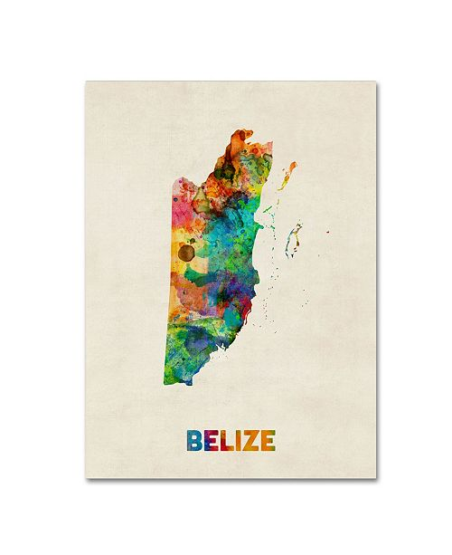 "Trademark Global Michael Tompsett 'Belize Watercolor Map' Canvas Art - 18"" x 24"""