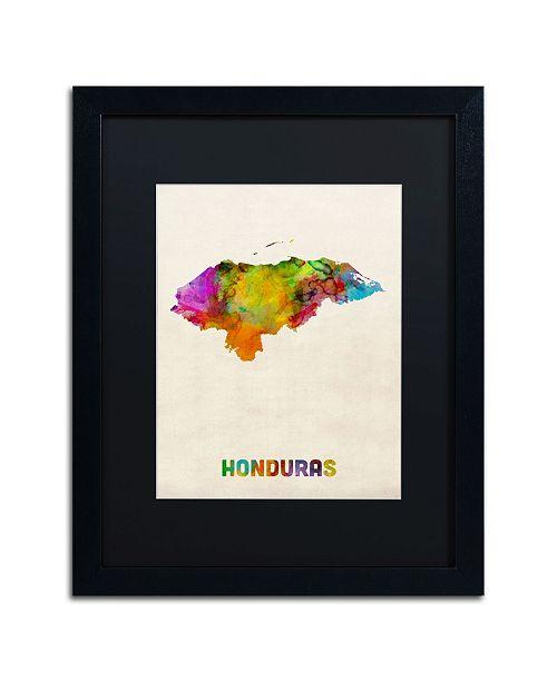 """Trademark Global Michael Tompsett 'Honduras Watercolor Map' Matted Framed Art - 16"""" x 20"""""""