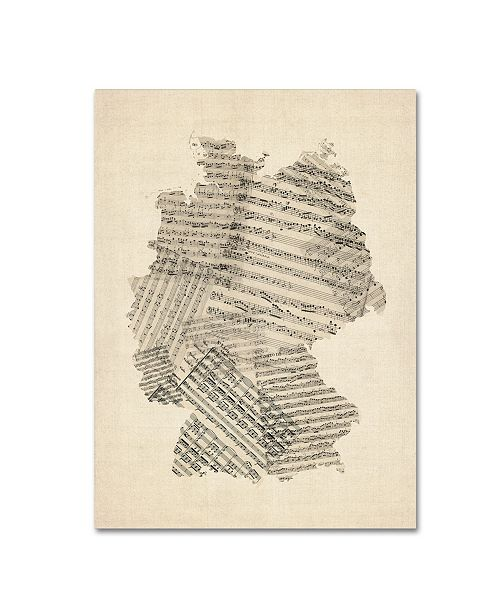 "Trademark Global Michael Tompsett 'Old Sheet Music Map of Germany' Canvas Art - 18"" x 24"""