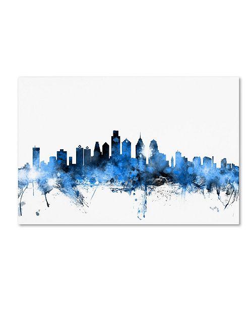 "Trademark Global Michael Tompsett 'Philadelphia Pennsylvania Skyline II' Canvas Art - 16"" x 24"""