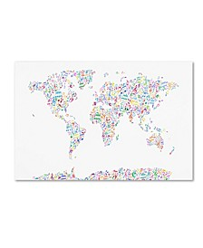 "Michael Tompsett 'Music Notes Map of the World' Canvas Art - 16"" x 24"""
