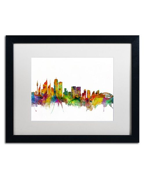 """Trademark Global Michael Tompsett 'Sydney Australia Skyline IV' Matted Framed Art - 16"""" x 20"""""""