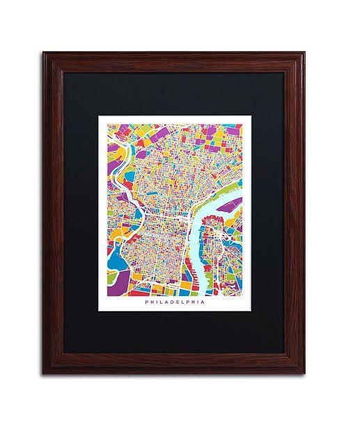 """Trademark Global Michael Tompsett 'Philadelphia Street Map III' Matted Framed Art - 16"""" x 20"""""""