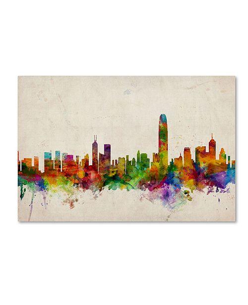 """Trademark Global Michael Tompsett 'Hong Kong Skyline' Canvas Art - 18"""" x 28"""""""