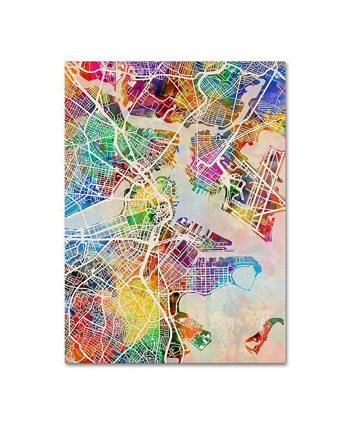 "Trademark Global Michael Tompsett 'Boston MA Street Map' Canvas Art - 35"" x 47"""
