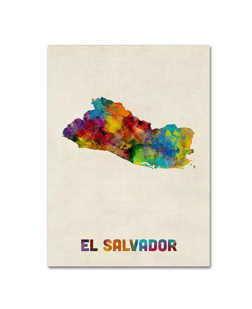 """Trademark Global Michael Tompsett 'El Salvador Watercolor Map' Canvas Art - 24"""" x 32"""""""