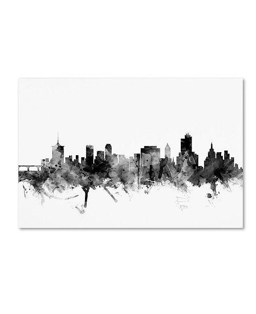 "Trademark Global Michael Tompsett 'Tulsa Oklahoma Skyline B&W' Canvas Art - 22"" x 32"""