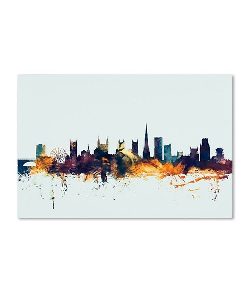 "Trademark Global Michael Tompsett 'Bristol England Skyline Blue' Canvas Art - 22"" x 32"""