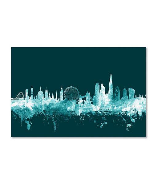 "Trademark Global Michael Tompsett 'London England Skyline Teal' Canvas Art - 22"" x 32"""