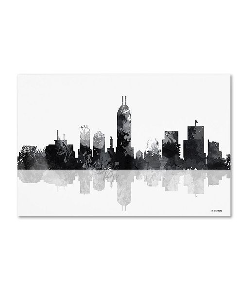 "Trademark Global Marlene Watson 'Indianapolis Indiana Skyline BG-1' Canvas Art - 30"" x 47"""