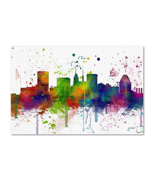"Trademark Global Marlene Watson 'Baltimore Maryland Skyline Mclr-1' Canvas Art - 30"" x 47"""