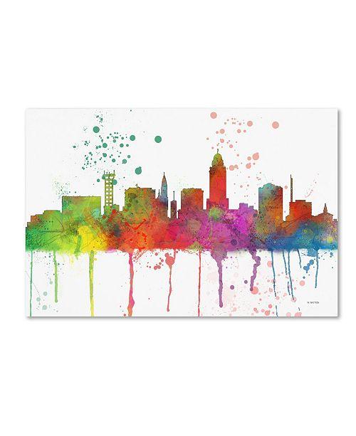 "Trademark Global Marlene Watson 'Lincoln Nebraska Skyline Mclr-1' Canvas Art - 22"" x 32"""