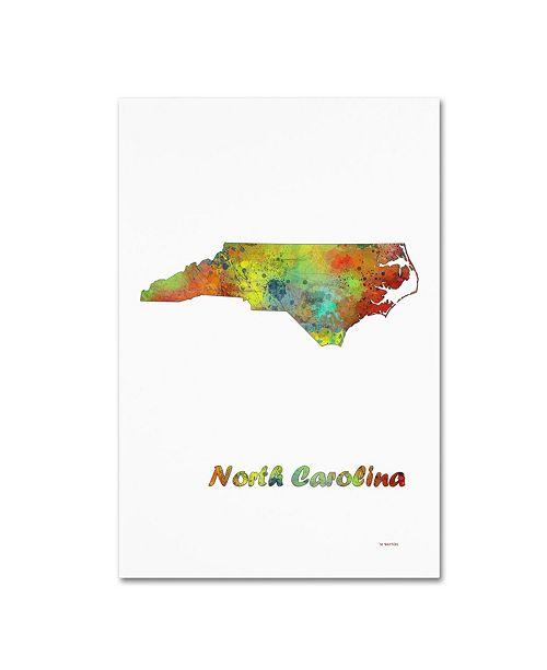 """Trademark Global Marlene Watson 'North Carolina State Map-1' Canvas Art - 22"""" x 32"""""""