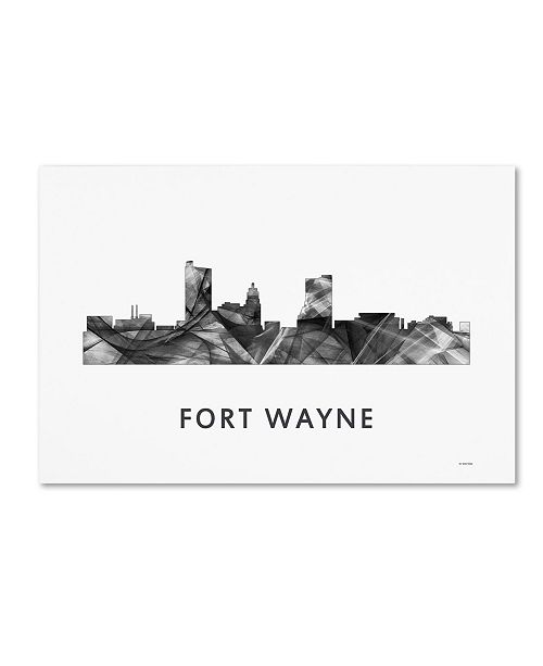 "Trademark Global Marlene Watson 'Fort Wayne Indiana Skyline WB-BW' Canvas Art - 30"" x 47"""