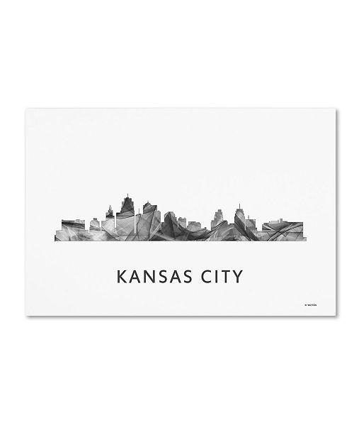 "Trademark Global Marlene Watson 'Kansas City Missouri Skyline WB-BW' Canvas Art - 22"" x 32"""