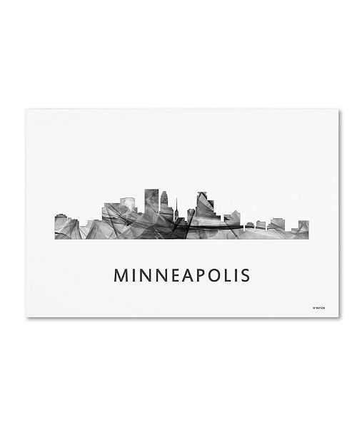 "Trademark Global Marlene Watson 'Minneapolis Minnesota Skyline WB-BW' Canvas Art - 22"" x 32"""