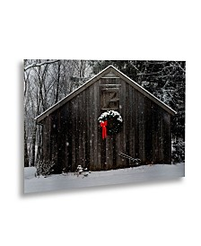 "Kurt Shaffer 'Christmas Barn Snow' Floating Brushed Aluminum Art - 22"" x 16"""