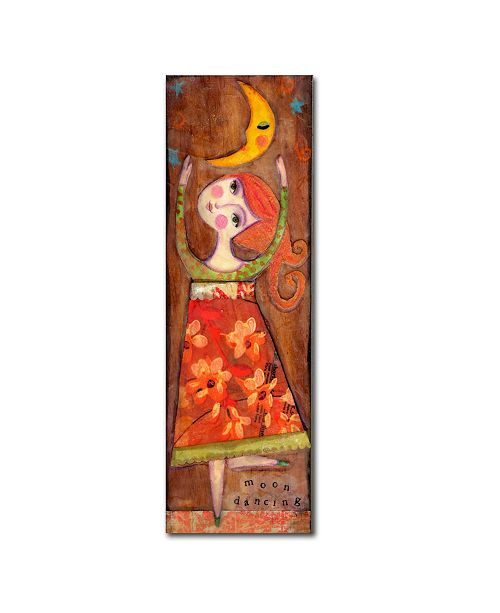 "Trademark Global Wyanne 'Big Eyed Girl Moon Dancing' Canvas Art - 8"" x 24"""