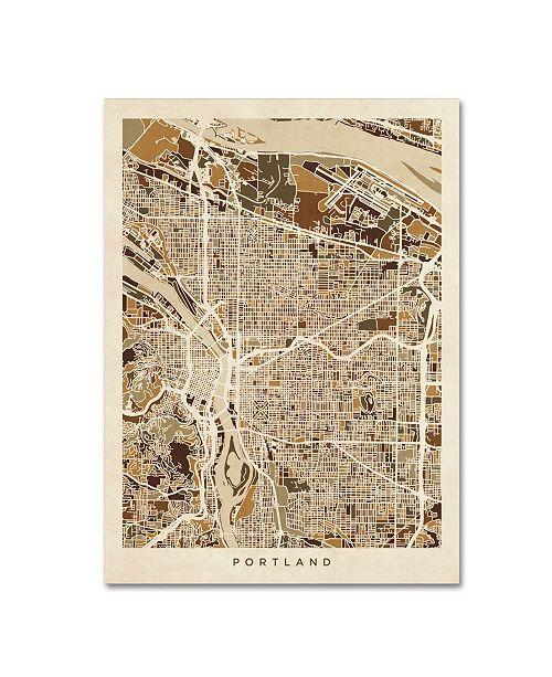 "Trademark Global Michael Tompsett 'Portland Oregon City Street Map II' Canvas Art - 35"" x 47"""