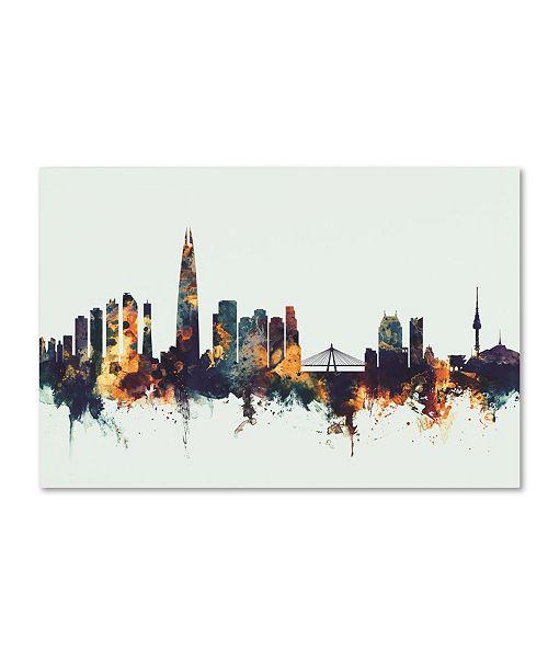 """Trademark Global Michael Tompsett 'Seoul Skyline South Korea V' Canvas Art - 30"""" x 47"""""""