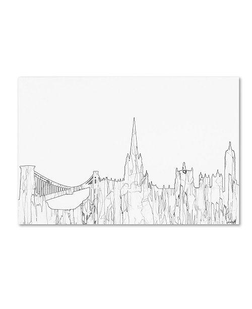 "Trademark Global Marlene Watson 'Bristol England Skyline BW Thin Line' Canvas Art - 22"" x 32"""