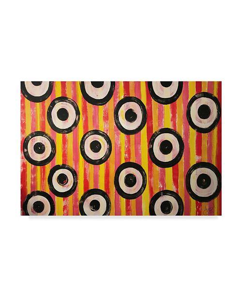 "Trademark Global Jessmessin 'Pop Polka Dots Pink' Canvas Art - 30"" x 47"""