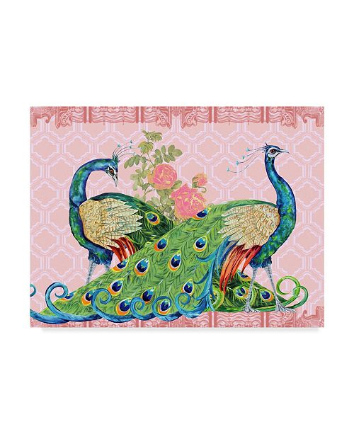 """Trademark Global Jean Plout 'Peacock Parade Pink' Canvas Art - 35"""" x 47"""""""