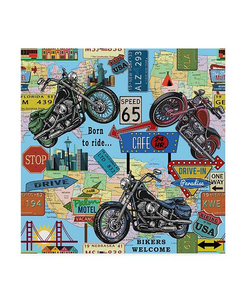 """Trademark Global Jean Plout 'Motorcycle Map' Canvas Art - 35"""" x 35"""""""