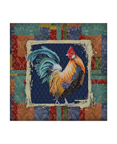 """Trademark Global Jean Plout 'Damask Rooster Border' Canvas Art - 24"""" x 24"""""""